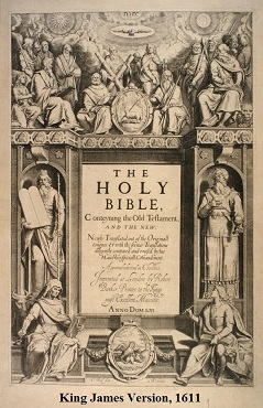 A photo of the title page of the King James Version of the Bible, first published in 1611