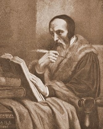 Photo of John Calvin, old and seated with a book and pen.