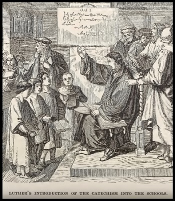An illustration of Martin Luther teaching Catechism in school