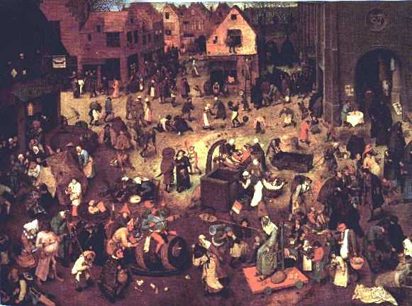 A depiction is shown of a busy village during the 16th century. This was during the time of the Reformation.